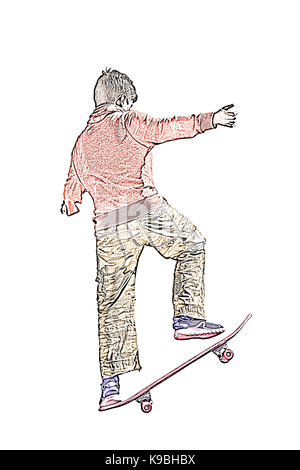 Colored sketch of a Young teenager boy practicing skateboard on white background - Stock Photo