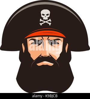 Pirate logo or label. Portrait of bearded man in cocked hat. Cartoon vector illustration - Stock Photo