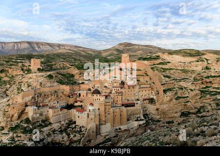 Israel, Judaea Dessert, Wadi Kidron, The Great Lavra of St. Sabas (also Mar Saba) is a Greek Orthodox monastery - Stock Photo