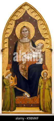 Madonna and Child Enthroned with Saints ( Andrew or Philip, Nicholas, John the Baptist, James the Lesser ) Andrea - Stock Photo