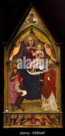 Madonna and child between Saints John the Baptist and Nicholas and two angels holding a curtain by Francesco active - Stock Photo
