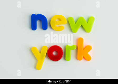 Word new york in orange in 3d on white background stock photo in new york city new york words in colourful childrens letters stock photo publicscrutiny Choice Image