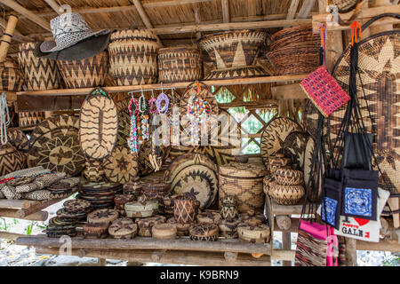 Hand crafted, woven souvenirs for sale at the Mangyan Village near Puerto Galera, Oriental Mindoro Island, Philippines. - Stock Photo