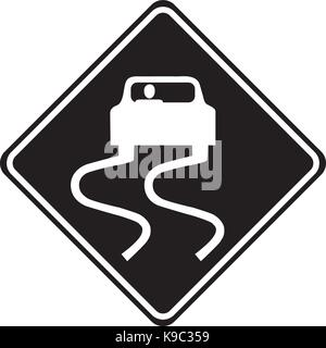 Slippery road ahead warning sign - Stock Photo