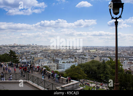 Paris, France - July 24, 2011: View of city from the Butte Montmartre - Stock Photo