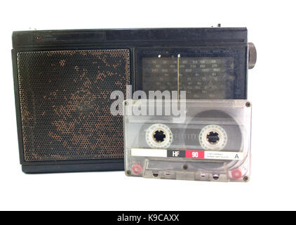 Old stereo with cassette tape vintage - Stock Photo