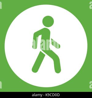 Pedestrians only road sign icon green - Stock Photo