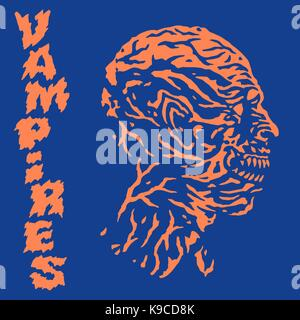 The head of the vampire monster. Vector illustration. Genre of horror. Scary character face. - Stock Photo