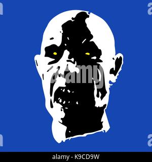 zombie face. horror picture on blue background. vector illustration - Stock Photo