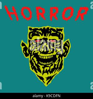 Demon head with torn face. Vector illustration. Scary monster character in blue and yellow colors. - Stock Photo