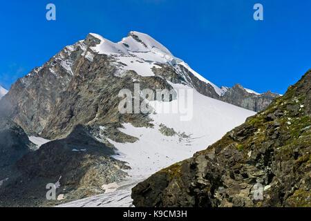 Peak Allalinhorn, Saas-Fee, Valais, Switzerland - Stock Photo