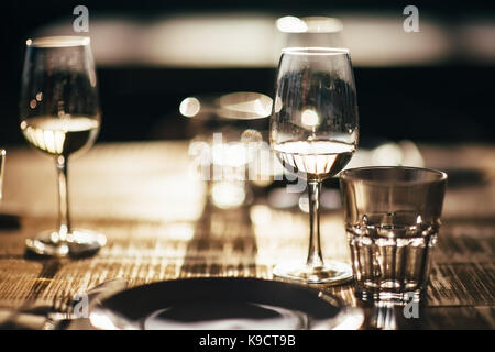 Close up detail of served table in restaurant - Stock Photo
