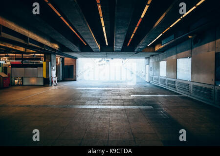 Exit from the underground metro. Light at the end of the tunnel concept - Stock Photo