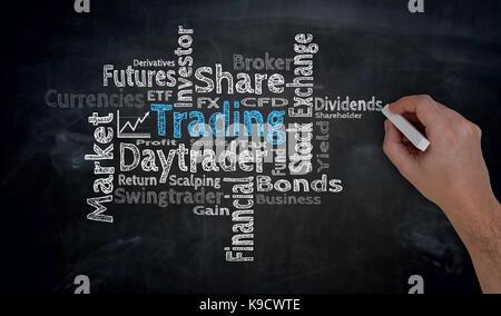 Trading Cloud is written by hand on blackboard. - Stock Photo
