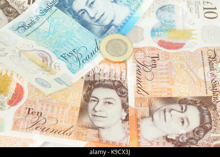 The newly introduced currency of the United Kingdom - The polymer ten pound (£10) note - Stock Photo