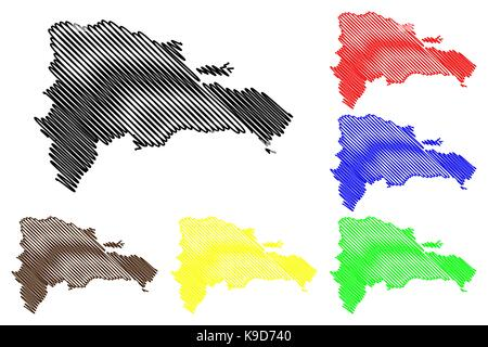 Dominican Republic Map Vector Illustration Scribble Sketch - Dominican republic map vector