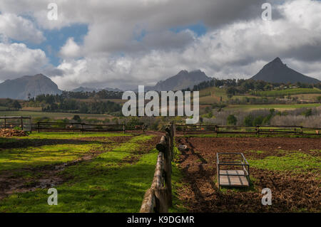 Rustenberg winery and Simonsberg, Stellenbosch South Africa - Stock Photo