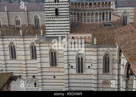 Italy, Siena - December 26 2016: the detailed view from facciatone of Duomo di Siena or Metropolitan Cathedral of - Stock Photo