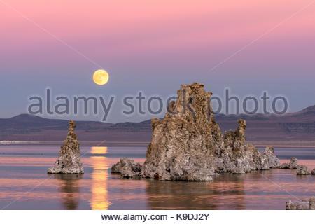 Rising November Full Moon over Mono Lake, Mono Basin National Forest Scenic Area, CA - Stock Photo