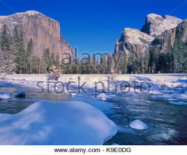 Gates of the Valley in Winter, Yosemite National Park, California - Stock Photo
