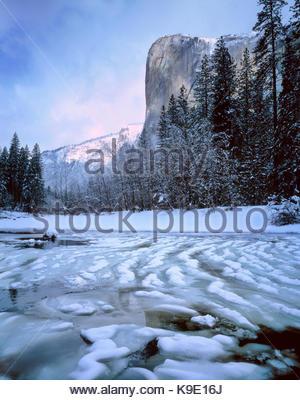 El Capitan and the Merced River in Winter, Yosemite National Park, California - Stock Photo