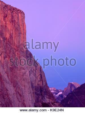 Twilight, El Capitan and Half Dome, Yosemite National Park, California - Stock Photo