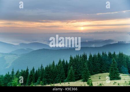 The photos took on a trip on Carpathian mountains around Pop Ivan. - Stock Photo