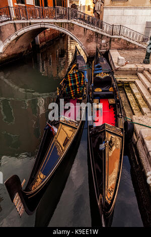 Pair of gondolas in Venice, Italy - Stock Photo