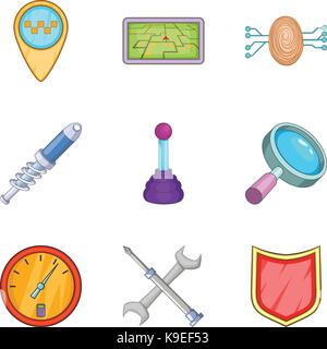 Delivery of spare parts icons set, cartoon style - Stock Photo