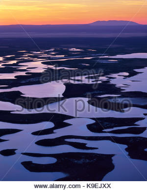 Warner Wetlands Area of Critical Environmental Concern and Juniper Mountain from Hart Mountain National Antelope - Stock Photo
