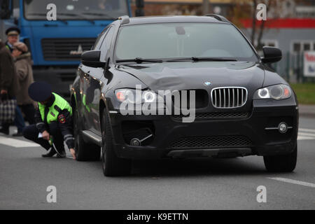 St. Petersburg  Russia  October 26, 2016 car hit the a pedestrian in a crosswalk - Stock Photo