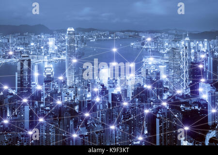 Network business connection system on Hong Kong smart city scape in background. Network business connection concept - Stock Photo