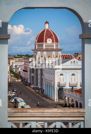 Framed view of Town Hall and Museo Provincial in Cienfuegos, Cuba - Stock Photo