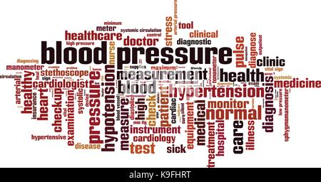 Blood pressure word cloud concept. Vector illustration - Stock Photo