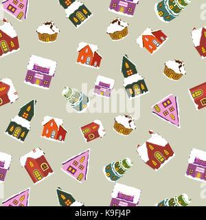 christmas houses seamless pattern - Stock Photo