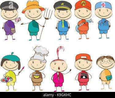 set of ten children with different professions. postman, farmer, police, fireman, doctor, artist, chef, singer, - Stock Photo
