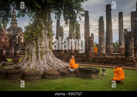 Wat Mahathat, Sukhothai Historical Park, Sukhothai, Thailand - Stock Photo