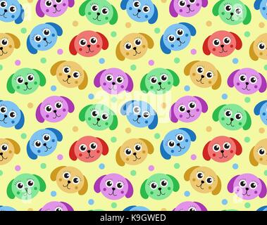 Cute puppy seamless pattern. Dog repetitive texture. Children endless background. Vector illustration. - Stock Photo