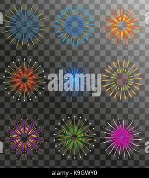 Realistic Fireworks set isolated on a transparent background. Holiday and party firework icons collection. Vector - Stock Photo