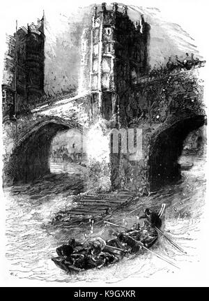 P289 London Bridge in the 13th Century Escape of Queen Eleanor - Stock Photo
