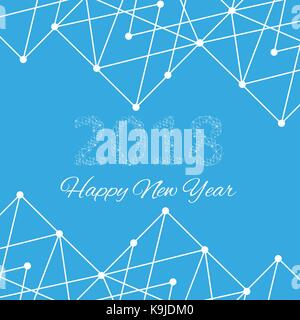 Text design Christmas and Happy new year 2018. Graphic background molecule and communication. Connected lines with - Stock Photo
