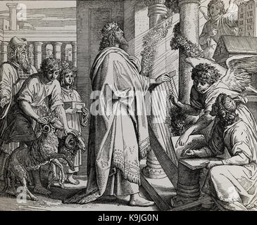 The psalms of king David, graphic collage from engraving of Nazareene School, published in The Holy Bible, St.Vojtech - Stock Photo