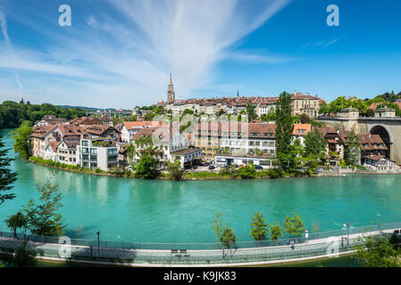 Bern, Switzerland - May 26, 2016: View of Bern old town over the Aare river in Switzerland. - Stock Photo