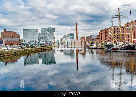 Liverpool's Albert Dock, in reflection. - Stock Photo