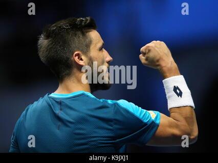 St Petersburg, Russia. 23rd Sep, 2017. Bosnian tennis player Damir Dzumhur in the men's singles semi-final against - Stock Photo