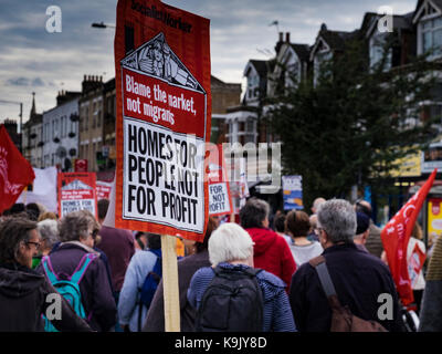 London, UK, 23rd September 2017. Protesters march down Green Lanes in Harringay, North London in protest of the - Stock Photo