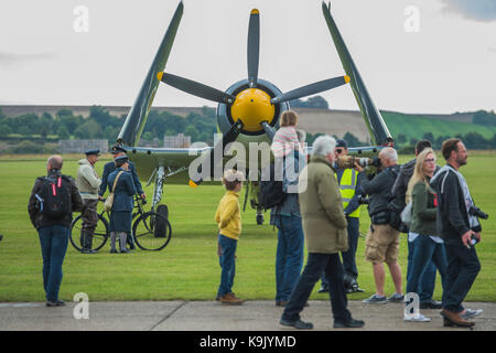 Duxford, UK. 23rd Sep, 2017. An aicraft carrier plane with its wings folded - Duxford Battle of Britain Air Show - Stock Photo