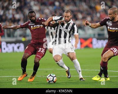 September 23, 2017 in Turin - Allianz Stadium Soccer match Juventus F.C. vs F.C. TORINO In picture: Gonzalo Higuain - Stock Photo
