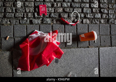 Berlin, Berlin, Germany. 24th Sep, 2017. Red campaign merchandise on the ground after a Martin Schulz (SPD) campaign - Stock Photo