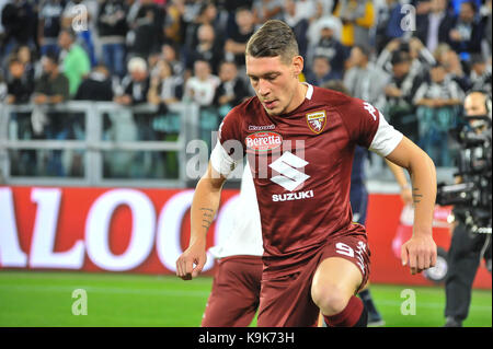 Andrea Belotti (Torino FC) during the Serie A football match between Juventus FC and  Torino FC at Allianz Stadium - Stock Photo